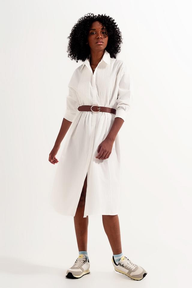 Robe chemise mi-longue en coton biologique Blanc