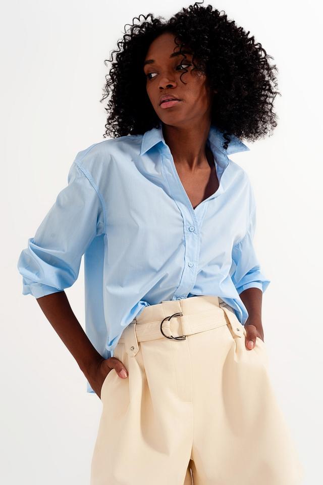 Chemise avec col à revers bleu