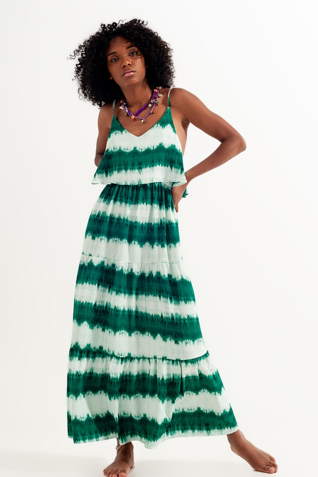 Robe de plage effet tie-dye Vert