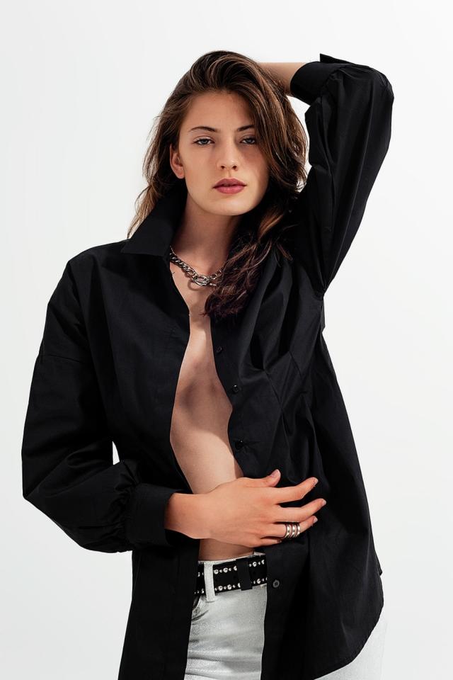 Chemise à manches longues popeline noir