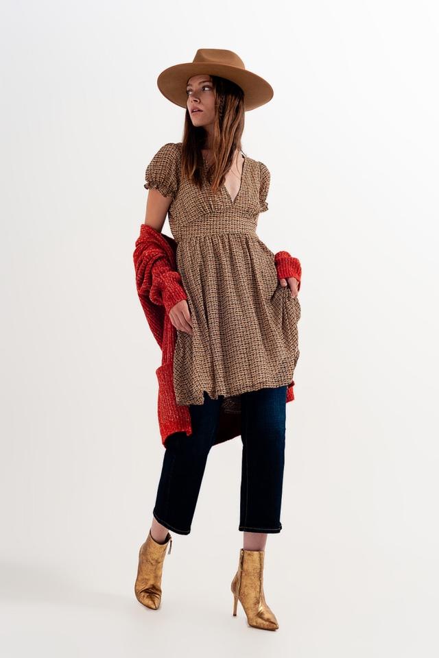 Robe babydoll cache-cœur courte Carreaux