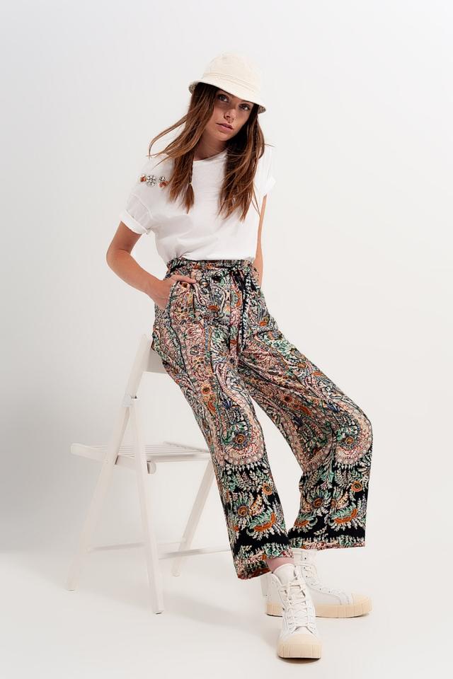 Pantalon large soyeux d'ensemble à motif cachemire