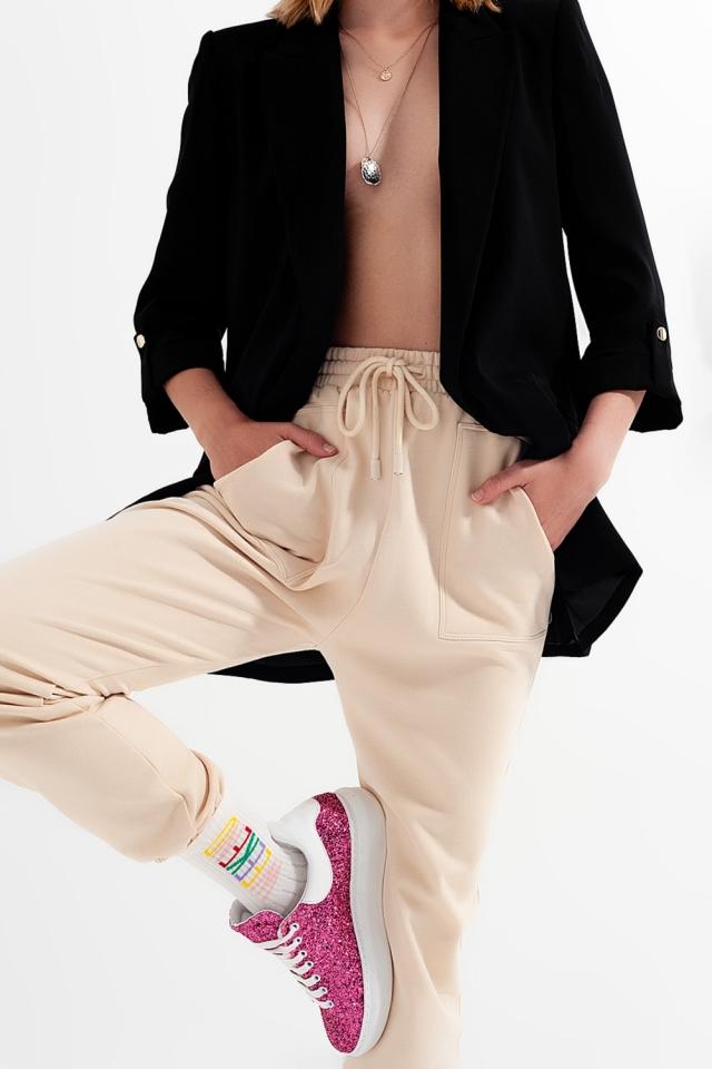Pantalon de jogging avec bande élastique à la taille beige
