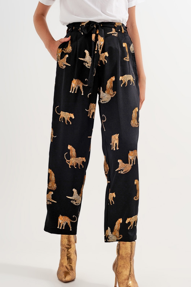 Pantalon en imprimé tigre noir