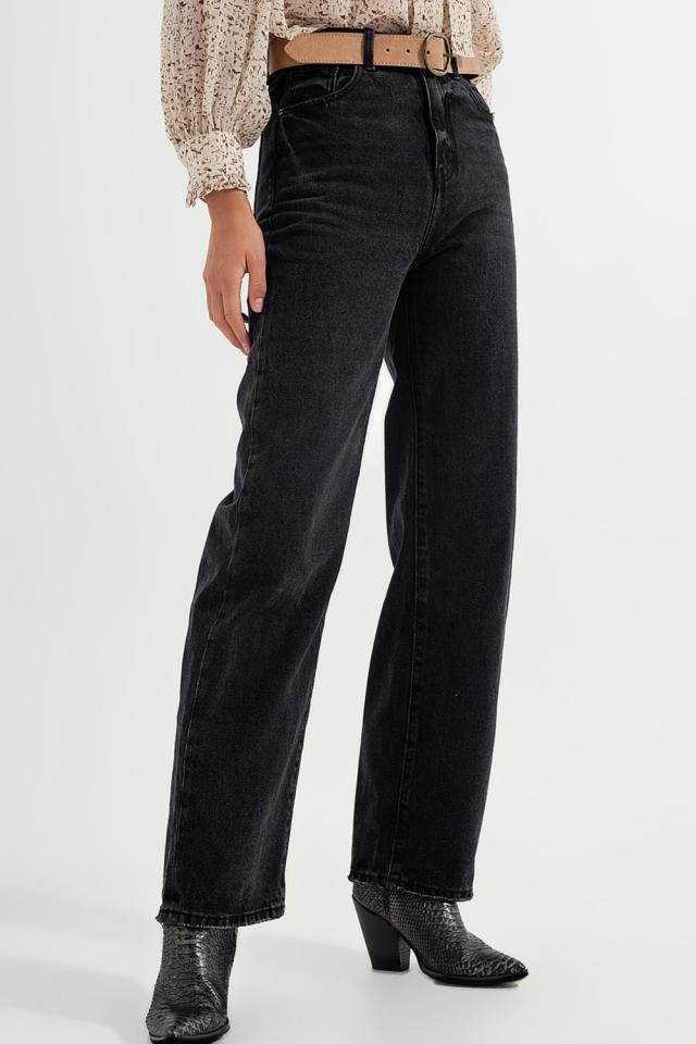 Jean droit taille ultra haute Noir