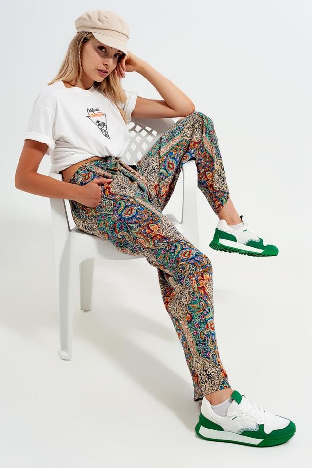 Pantalon large en satin avec motif feuilles en jacquard Vert