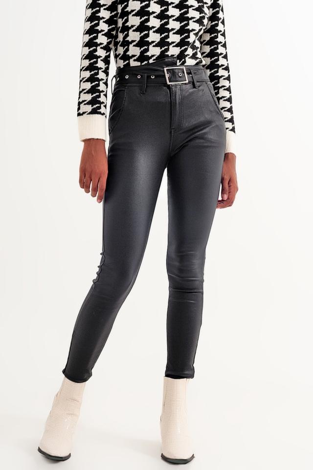 Pantalon en cuir à ceinture Noir