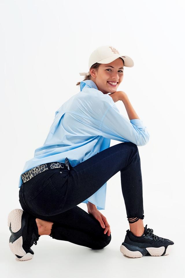 Jean skinny stretch à ourlets découpés Noir