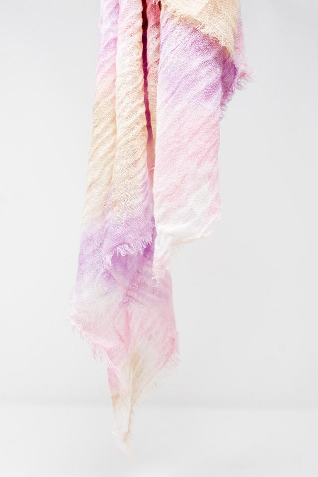 Foulard effet tie-dye rose délavé