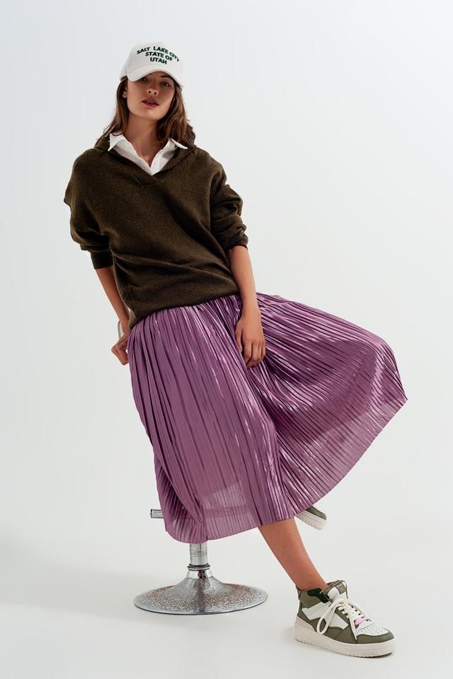 Jupe mi-longue plissée violet