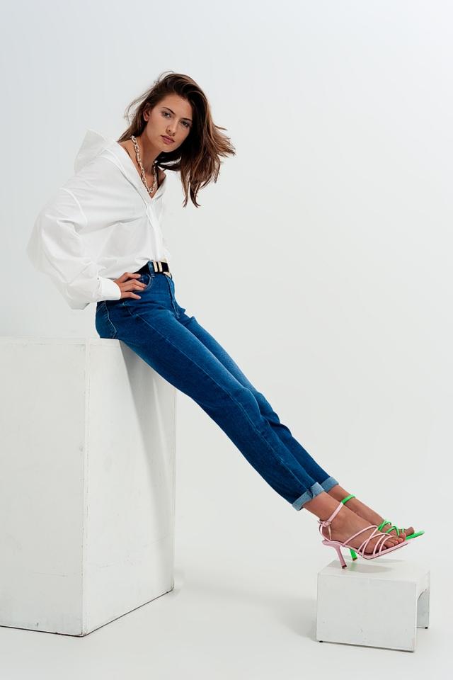 Jean skinny en coton mélangé Bleu