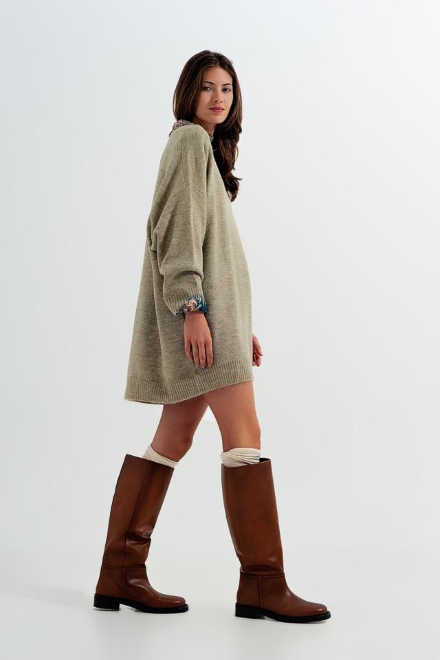 Robe long style pull en maille Kaki
