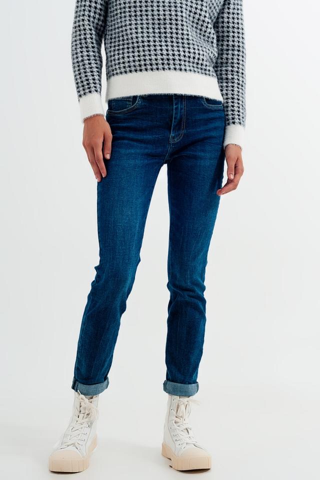 Jean skinny taille haute Délavage bleu moyen