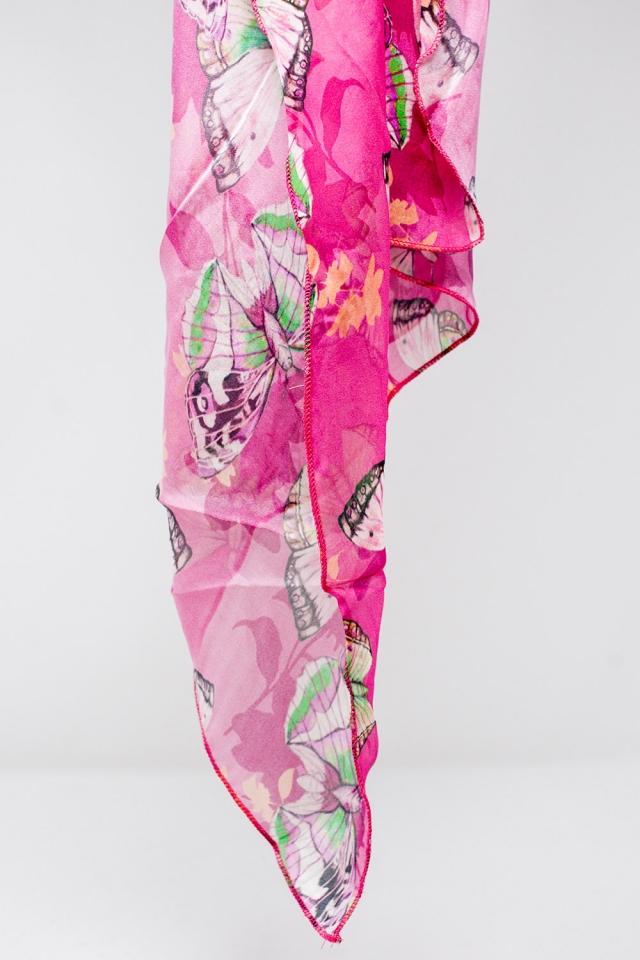 Écharpe soie fucsia avec impression de papillons