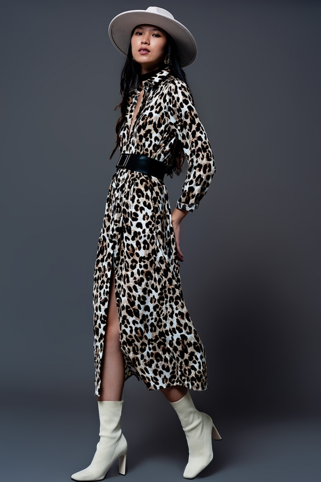 Robe chemise à imprimé léopard