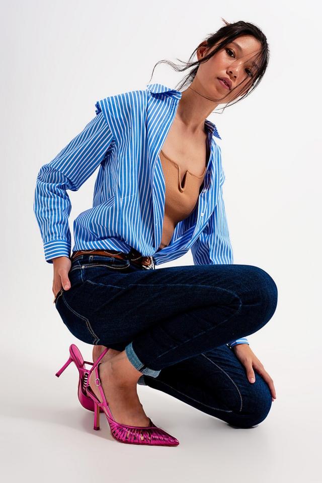 Jean skinny Bleu foncé délavé